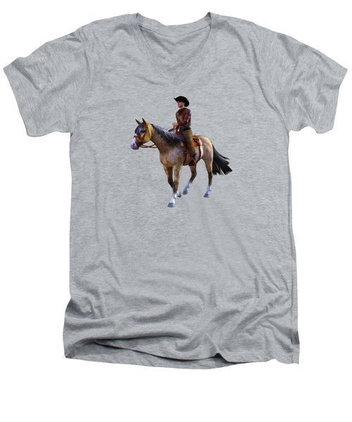 Men's V-Neck T-Shirt featuring the digital art Cowboy Blue by Methune Hively