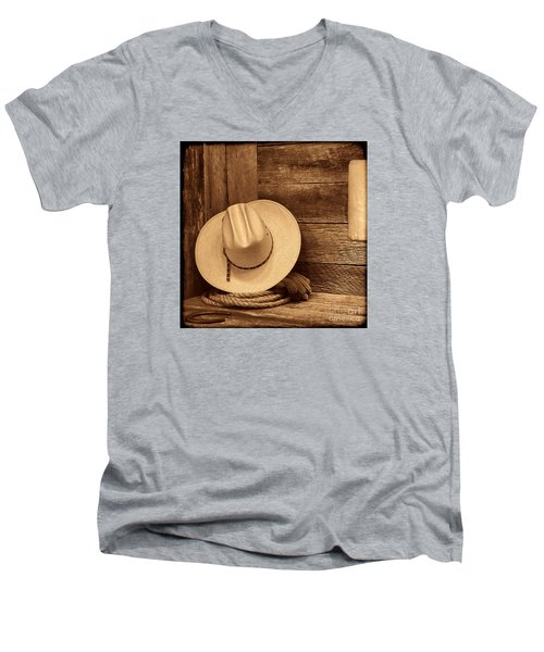 Cowboy Hat In Town Men's V-Neck T-Shirt by American West Legend By Olivier Le Queinec
