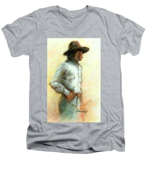 Cowboy In Thought Men's V-Neck T-Shirt