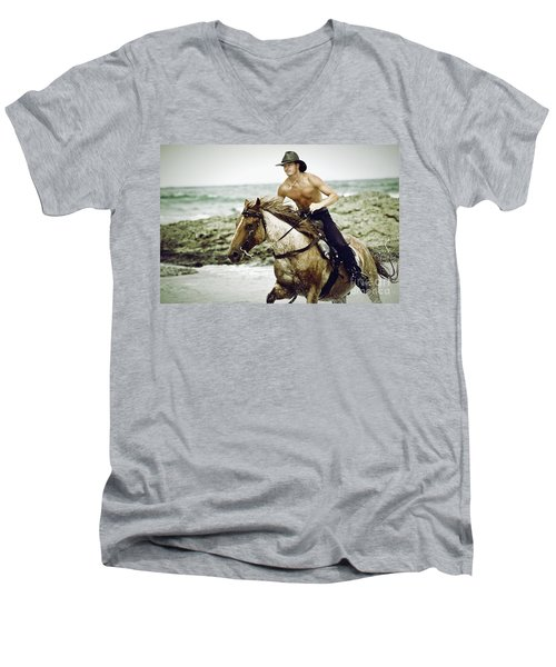 Cowboy Riding Horse On The Beach Men's V-Neck T-Shirt