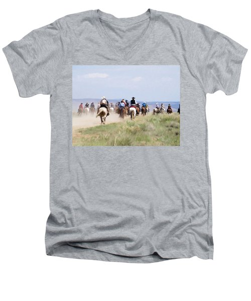 Cowboys And Cowgirls Riding Horses At The Sombrero Horse Drive Men's V-Neck T-Shirt