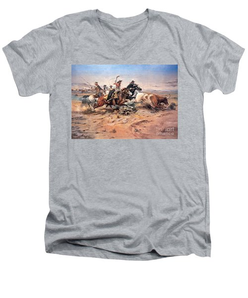 Cowboys Roping A Steer Men's V-Neck T-Shirt
