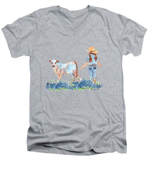 Cowgirl Calf In The Bluebonnets Pe005 Men's V-Neck T-Shirt