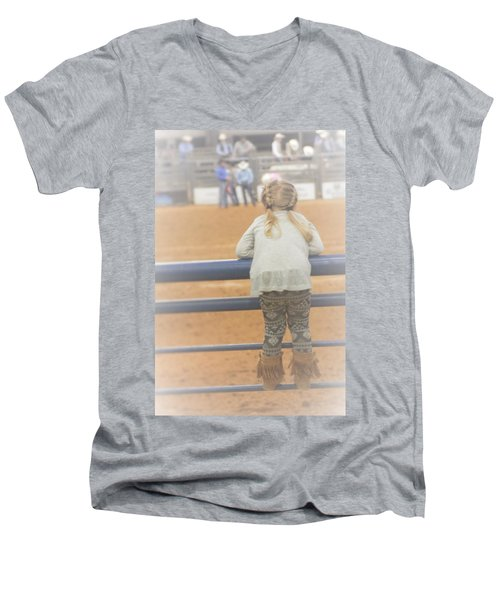 Men's V-Neck T-Shirt featuring the photograph Cowgirl Hatchling by John Glass
