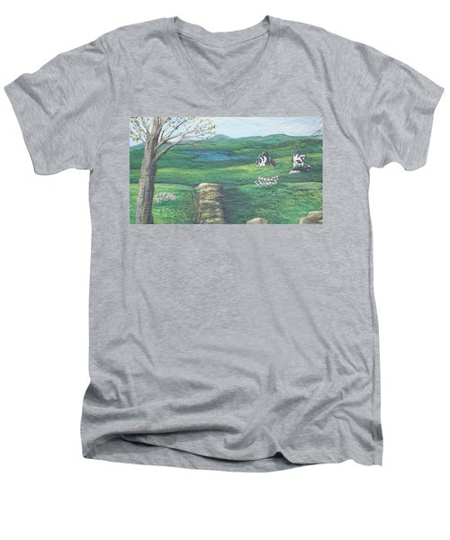 Cows In Field Men's V-Neck T-Shirt