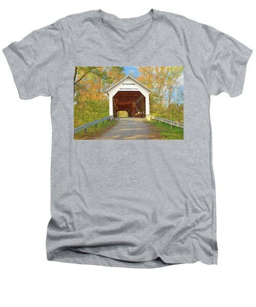 Cox Ford Covered Bridge Men's V-Neck T-Shirt by Harold Rau