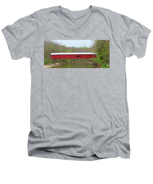 Men's V-Neck T-Shirt featuring the photograph Cox Ford Covered Bridge - Sideview by Harold Rau