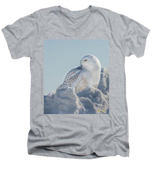 Men's V-Neck T-Shirt featuring the photograph Coy Snowy Owl by Rikk Flohr