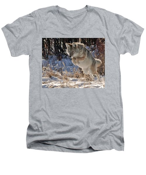 Coyote In Mid Jump Men's V-Neck T-Shirt