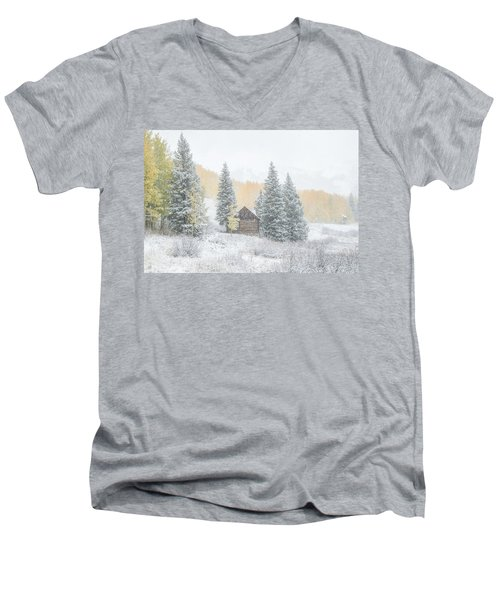 Cozy Cabin Men's V-Neck T-Shirt by Kristal Kraft