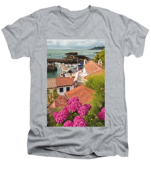 cozy tourist town on the Bay of Biscay Men's V-Neck T-Shirt