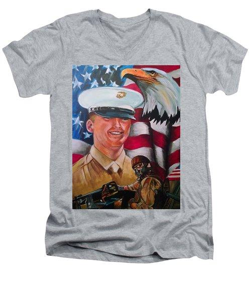 Cpl. Drown Men's V-Neck T-Shirt by Ken Pridgeon