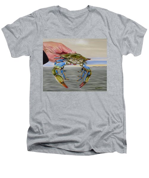 Crab Fingers Men's V-Neck T-Shirt by Phyllis Beiser