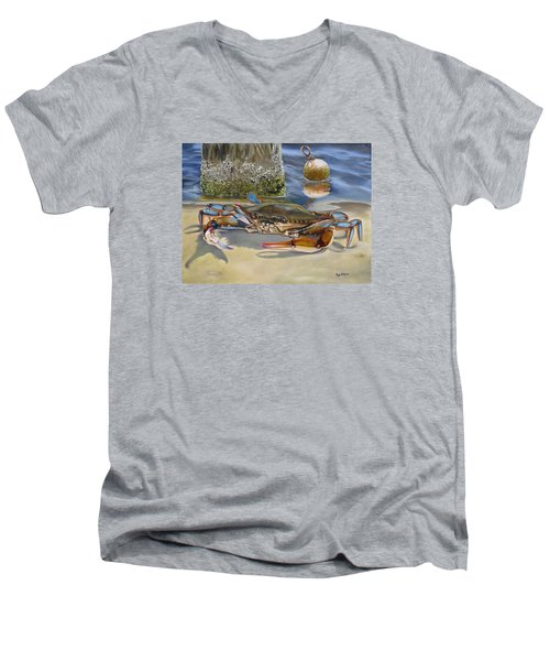 Men's V-Neck T-Shirt featuring the painting Crab On The Shoreline by Phyllis Beiser