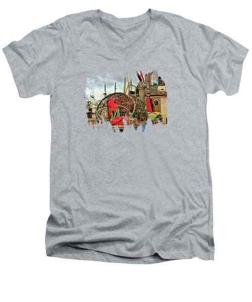 Men's V-Neck T-Shirt featuring the photograph Crab Rings On Deck by Thom Zehrfeld