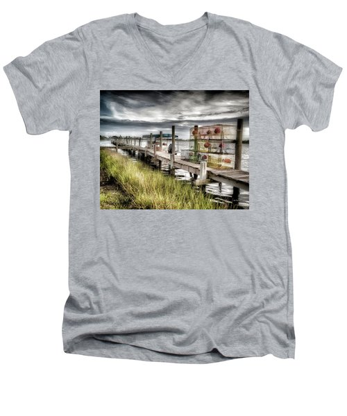 Crabber's Dock, Surf City, North Carolina Men's V-Neck T-Shirt by John Pagliuca