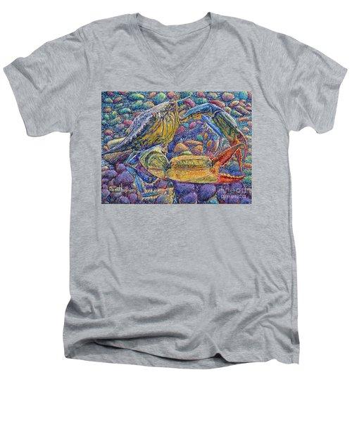 Crabby Men's V-Neck T-Shirt by David Joyner