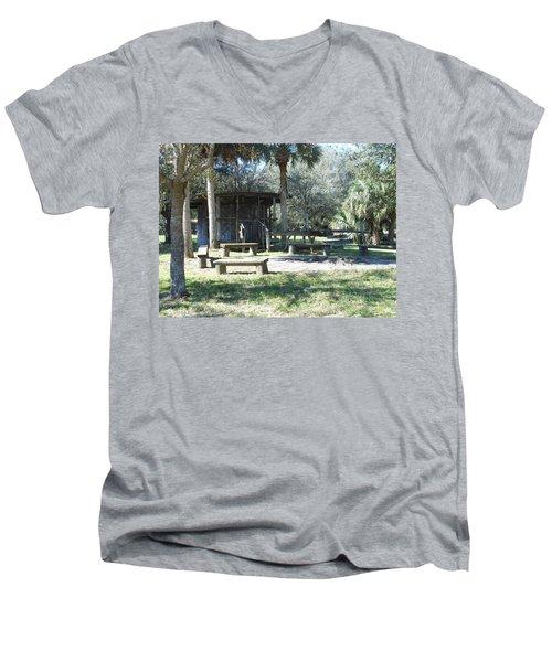 Cracker Cow Hunter Shack Men's V-Neck T-Shirt by Kay Gilley