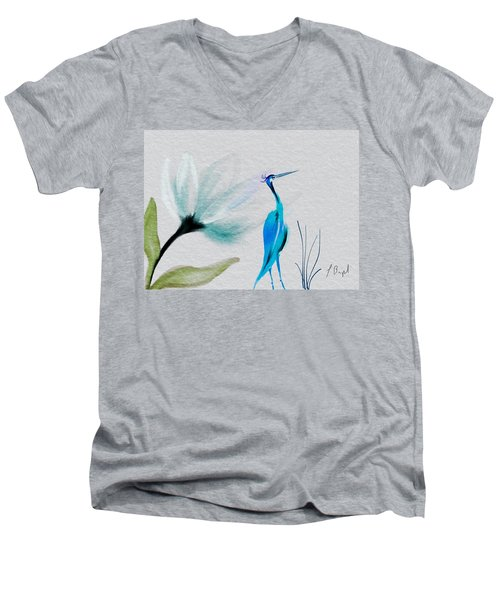Crane And Flower Abstract Men's V-Neck T-Shirt by Frank Bright