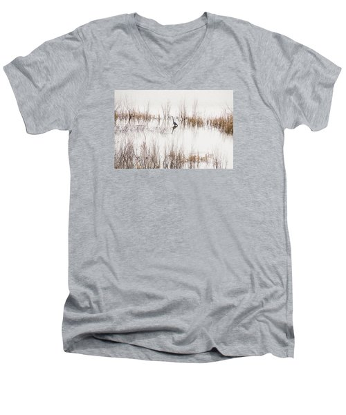 Men's V-Neck T-Shirt featuring the photograph Crane In Reeds by Laura Pratt
