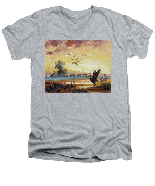 Cranes - Evening Flight Men's V-Neck T-Shirt by Irek Szelag