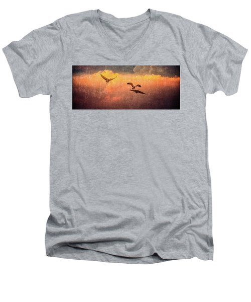 Cranes Lifting Into The Sky Men's V-Neck T-Shirt
