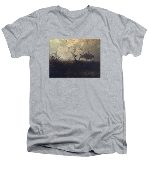 Cranes Take Off Men's V-Neck T-Shirt