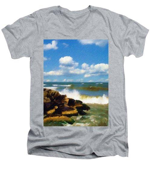 Crashing Into Shore Men's V-Neck T-Shirt by Sandy MacGowan