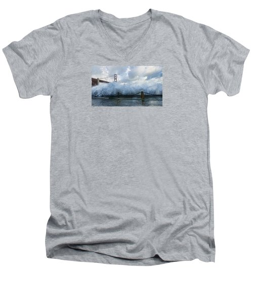 Men's V-Neck T-Shirt featuring the photograph Crashing Wave Golden Gate Bridge King Tide by Steve Siri