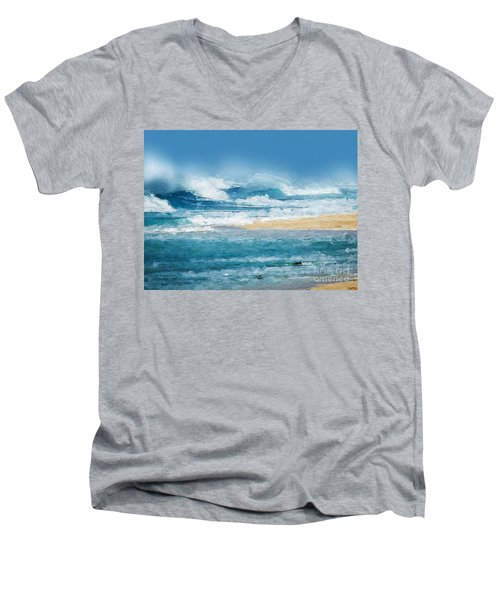 Crashing Waves Men's V-Neck T-Shirt by Anthony Fishburne