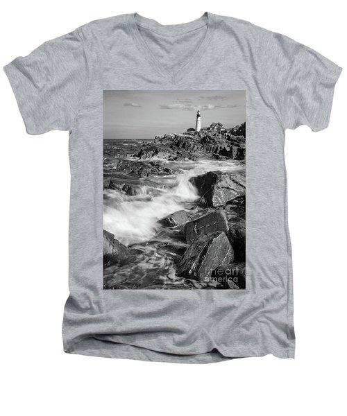 Crashing Waves, Portland Head Light, Cape Elizabeth, Maine  -5605 Men's V-Neck T-Shirt by John Bald