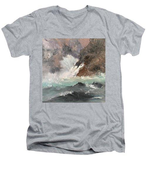 Crashing Waves Seascape Art Men's V-Neck T-Shirt by Michele Carter