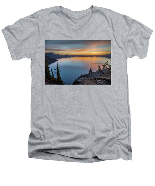 Crater Lake Morning No. 1 Men's V-Neck T-Shirt