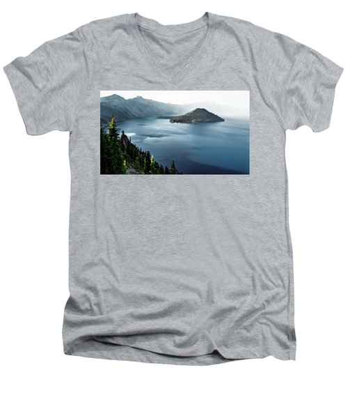 Crater Lake Under A Siege Men's V-Neck T-Shirt by Eduard Moldoveanu
