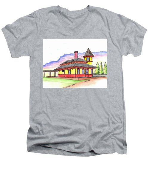 Crawford Notch Train Station Men's V-Neck T-Shirt by Paul Meinerth