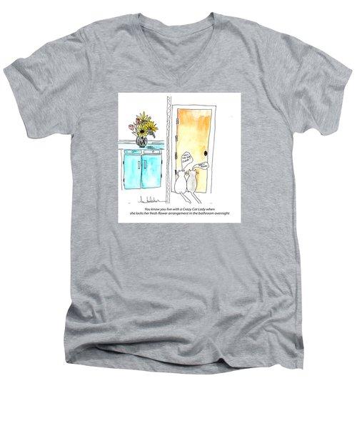 Crazy Cat Lady 0002 Men's V-Neck T-Shirt by Lou Belcher