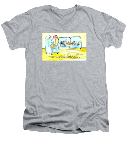Crazy Cat Lady 0004 Men's V-Neck T-Shirt by Lou Belcher