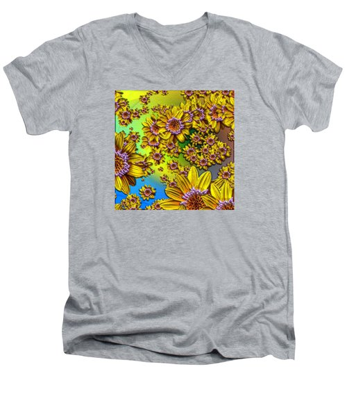 Crazy Daisies Men's V-Neck T-Shirt by Nick Kloepping