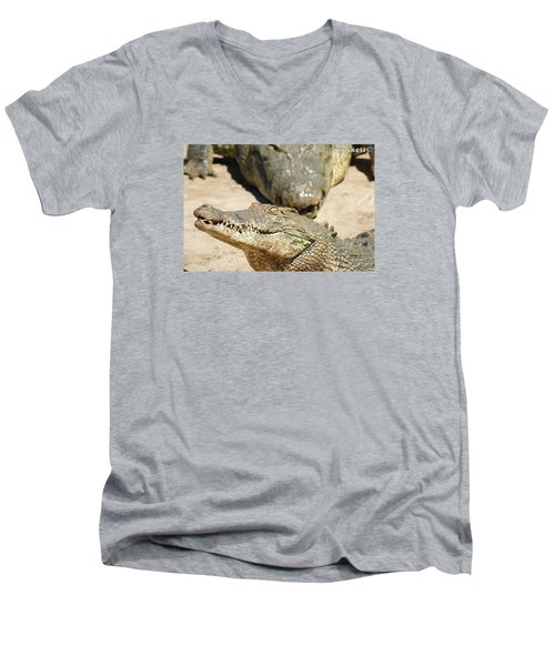 Men's V-Neck T-Shirt featuring the photograph Crazy Saltwater Crocodile by Gary Crockett