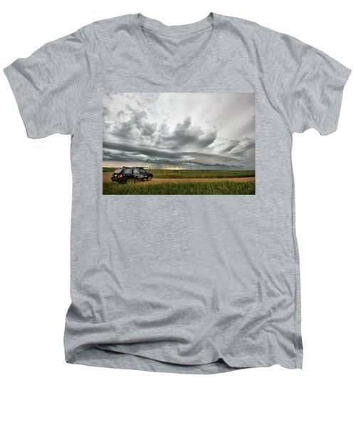Men's V-Neck T-Shirt featuring the photograph Crazy Shelf Cloud Near Ponteix Sk. by Ryan Crouse
