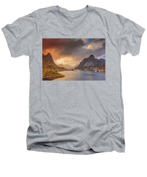 Crazy Sunset In Lofoten Men's V-Neck T-Shirt by Alex Conu