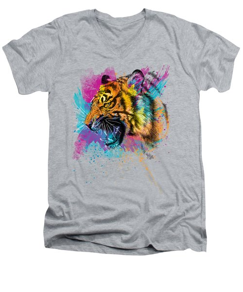 Crazy Tiger Men's V-Neck T-Shirt by Olga Shvartsur