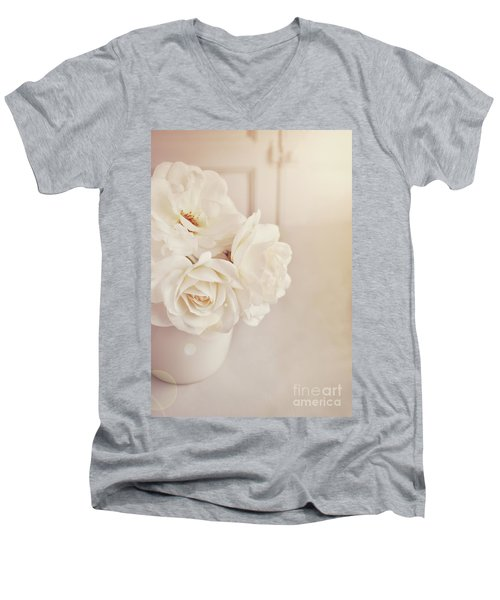 Men's V-Neck T-Shirt featuring the photograph Cream Roses In Vase by Lyn Randle