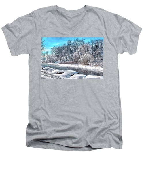 Credit River At Winter Men's V-Neck T-Shirt by Kai Saarto