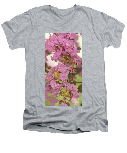 Crepe Myrtle And Bee Men's V-Neck T-Shirt by Olga Hamilton