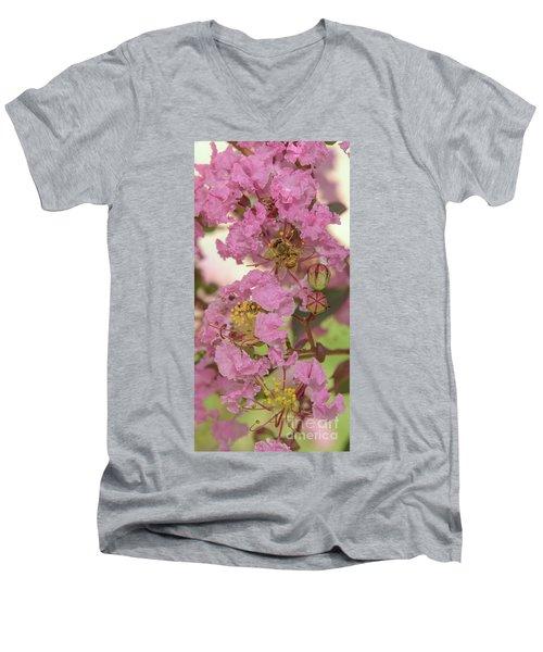 Crepe Myrtle And Bee Men's V-Neck T-Shirt