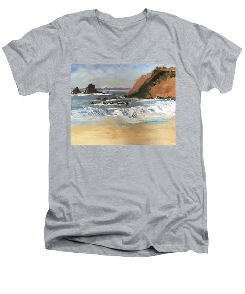Men's V-Neck T-Shirt featuring the painting Crescent Beach At Laguna  by MaryAnne Ardito