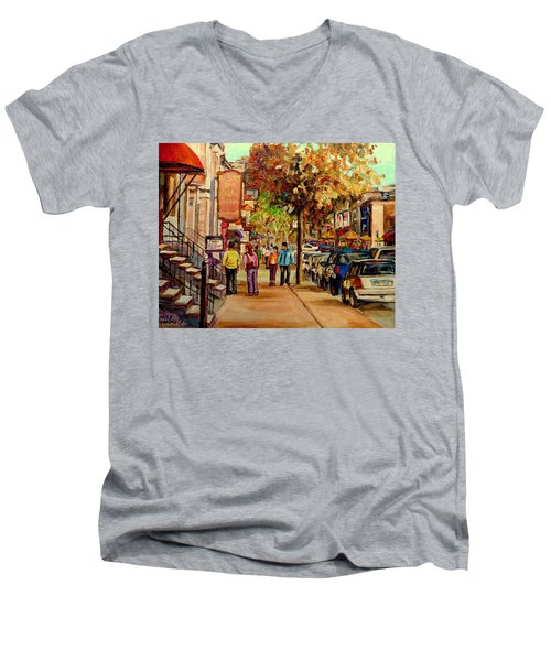 Men's V-Neck T-Shirt featuring the painting Crescent Street Montreal by Carole Spandau