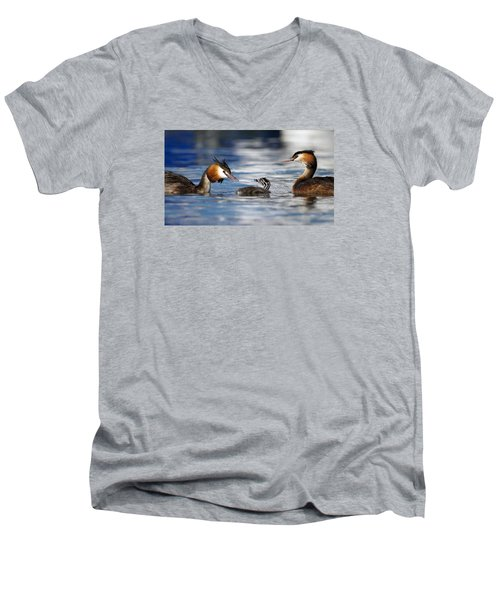 Crested Grebe, Podiceps Cristatus, Ducks Family Men's V-Neck T-Shirt by Elenarts - Elena Duvernay photo