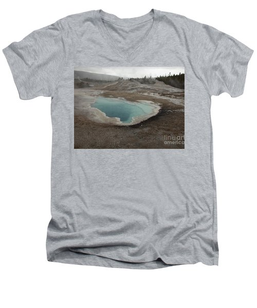 Crested Pool, Upper Geyser Basin, Yellowstone Men's V-Neck T-Shirt